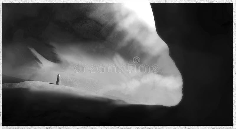 Caverne de désert noire et blanche photographie stock