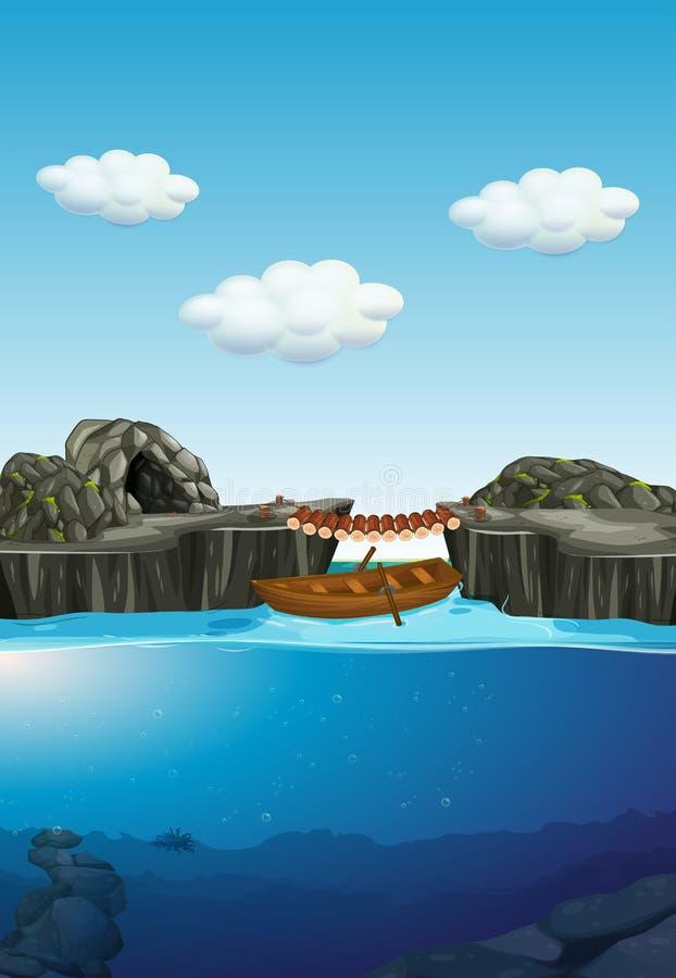 Caverne de nature et rivière sous-marine illustration de vecteur