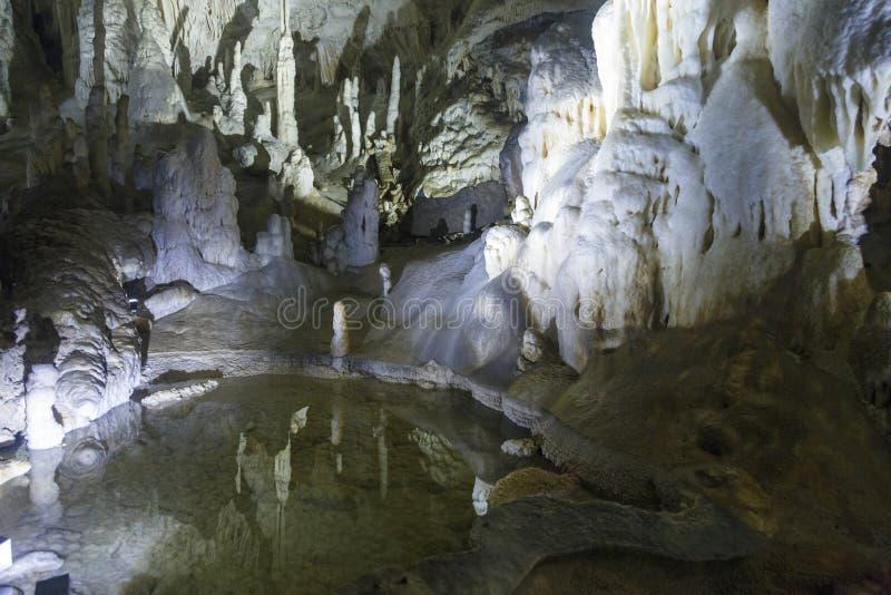 Caverne de Postojna, Slovénie, avec des stalactites et des stalagmites photographie stock