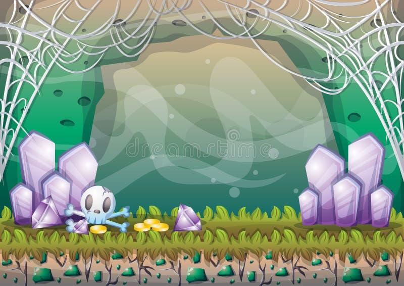 Caverne de vecteur de bande dessinée avec des couches séparées pour le jeu et l'animation illustration de vecteur