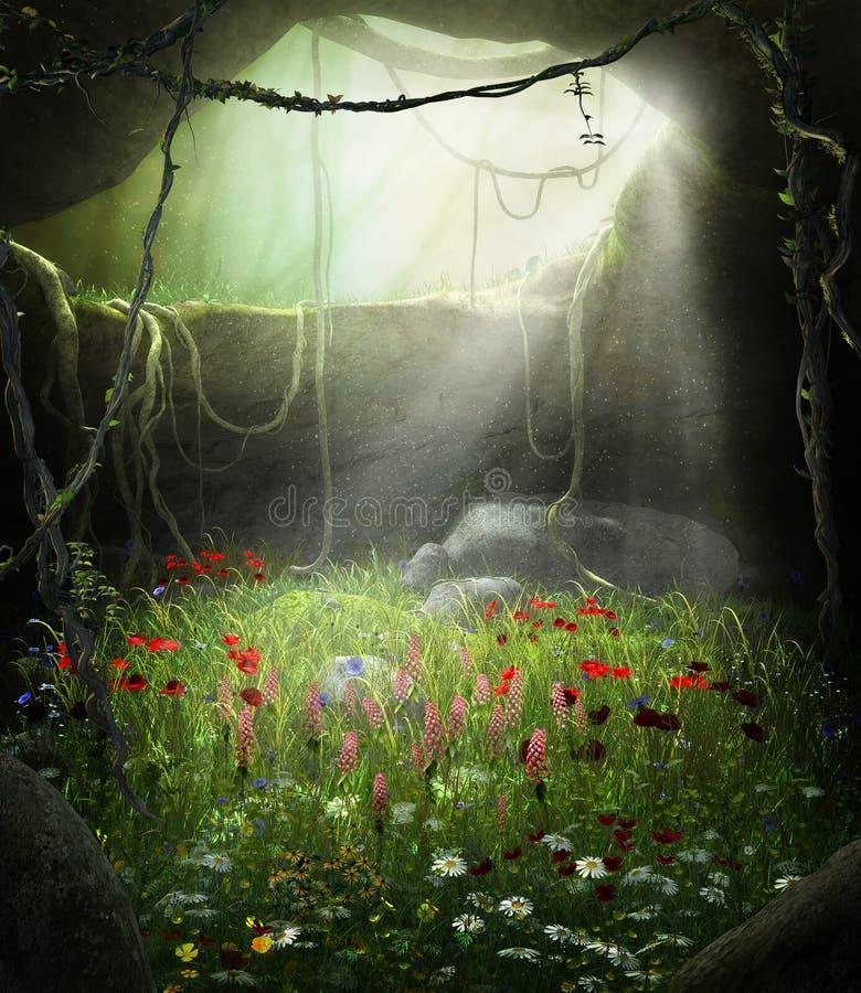 Caverne féerique enchanteresse remplie de fleurs illustration libre de droits