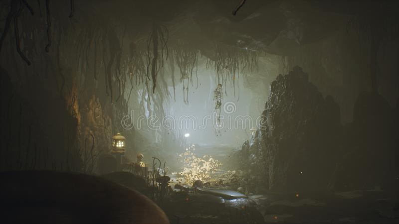 Caverne ?norme antique d'imagination remplie de champignons antiques et de brouillard magique avec le rendu de la poussi?re 3D illustration libre de droits