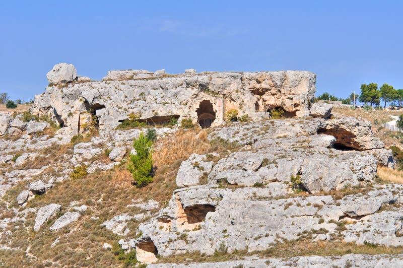 Caverne paleolitiche. Matera. La Basilicata. L'Italia. fotografia stock