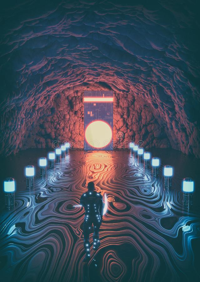 Caverne rougeoyante étrangère photo libre de droits