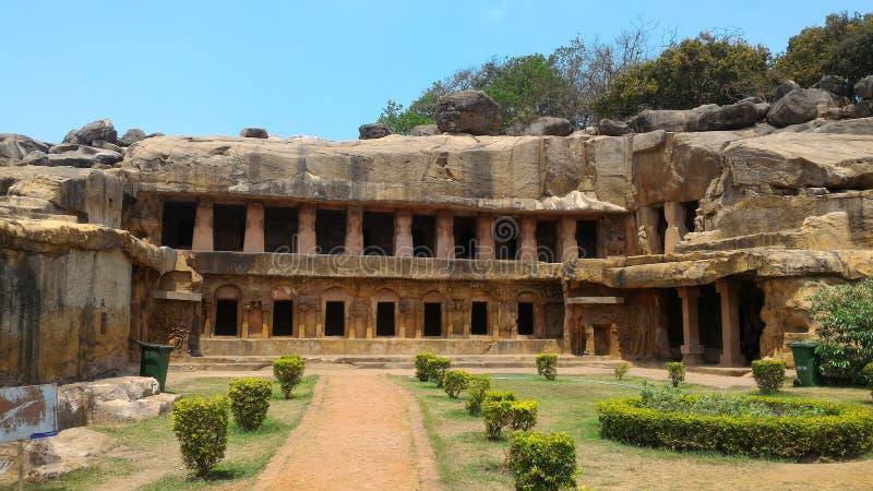 Cavernes d'Udayagiri et de Khandagiri images libres de droits