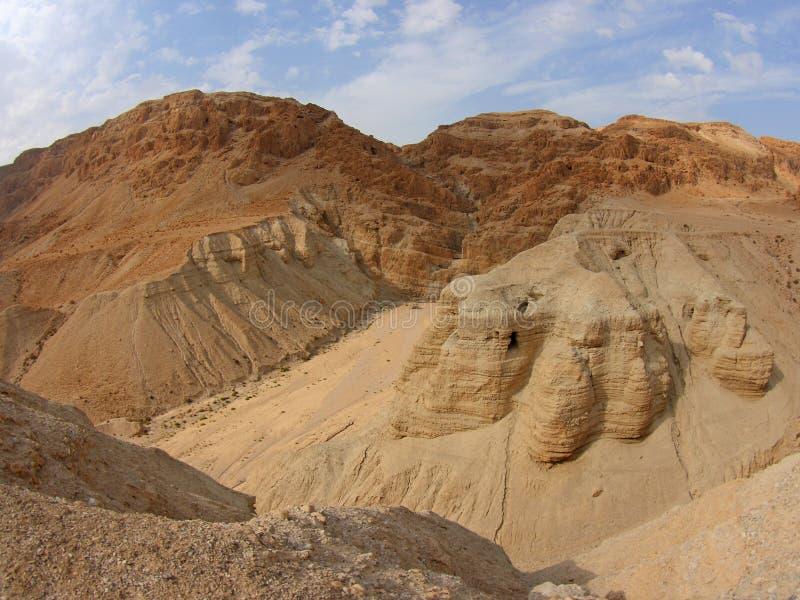 Cavernes De Défilement De Mer Morte, Qumran, Israël Images stock