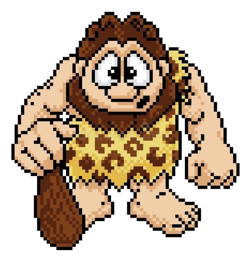 Cavernicolo nel bit Arcade Video Game Style di arte 8 del pixel royalty illustrazione gratis