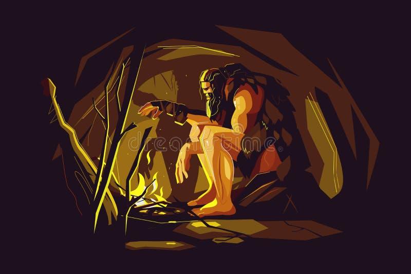 Cavernicolo selvaggio che si siede vicino al falò illustrazione di stock