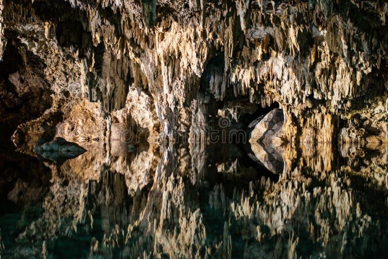 Caves Cenote Labnaha, Riviera Maya, Mexico. Underground seas in Mexico, named cenote, holy caves of the Mayan in the Riviera Maya, Mexico stock photo