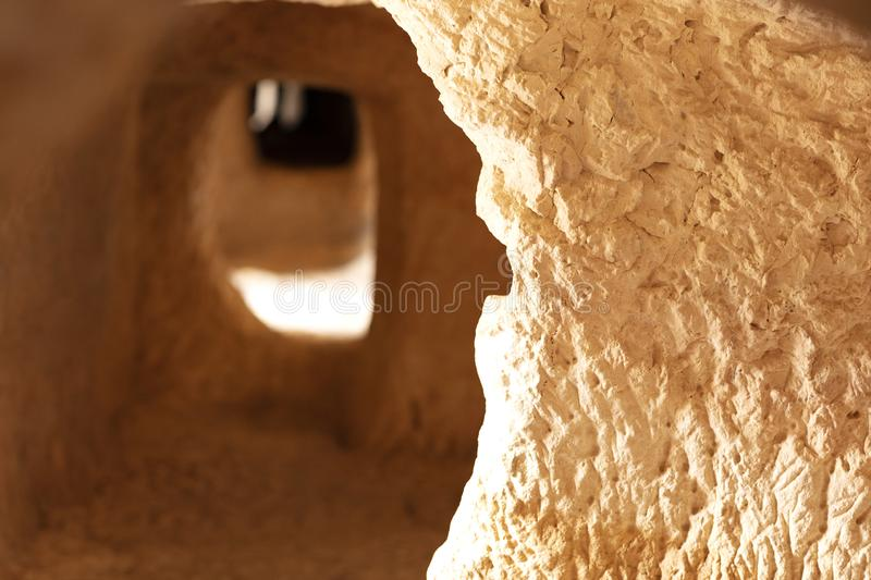 Caves dug into the rock. Caves dug into the mountain rock by ancient muslim settlers to store food in Bocairent, Spain stock photos