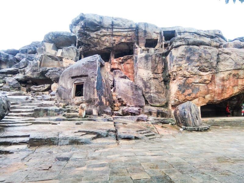 Caves of Udayagiri. View of Ancient Udayagiri caves situated at Khandagiri hills of Bhubaneswar stock photography