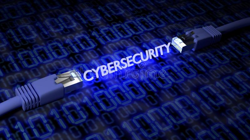 2 cavi della rete su un pavimento strutturato con le correnti binarie con il cybersecurity d'ardore di parola royalty illustrazione gratis