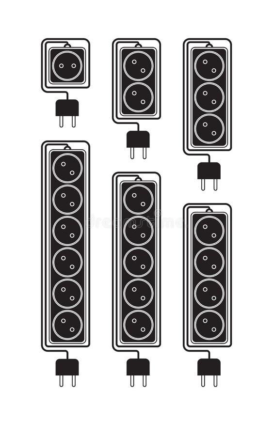 Cavi di estensione elettrici della raccolta in uno stile piano moderno illustrazione vettoriale