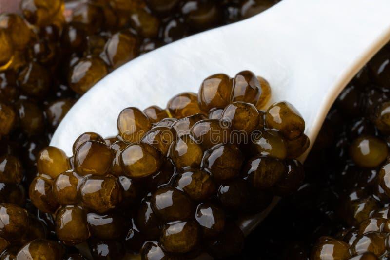 Caviale nero dello storione in cucchiaio ceramico Macro immagine stock libera da diritti