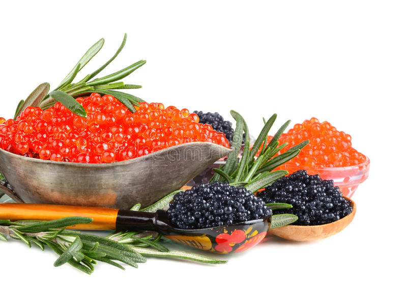 Caviar avec le romarin image stock