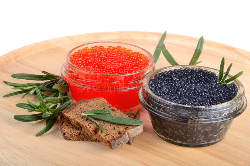 Caviar with bread and rosemary royalty free stock photo