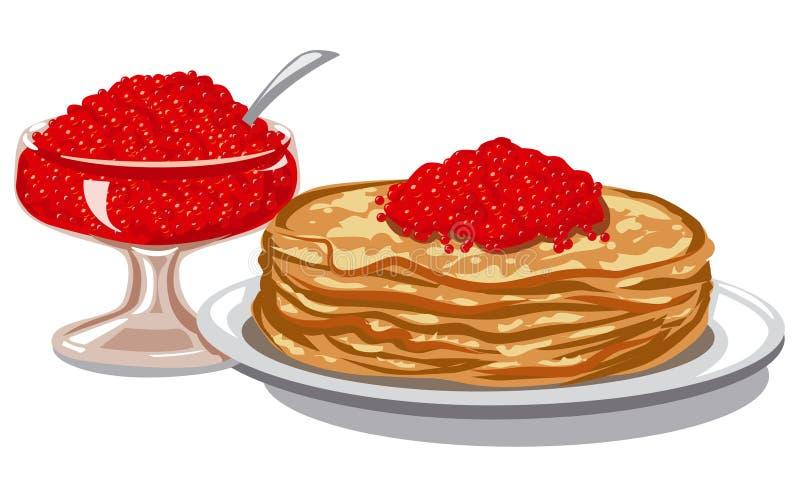 Caviar dos salmões vermelhos ilustração royalty free