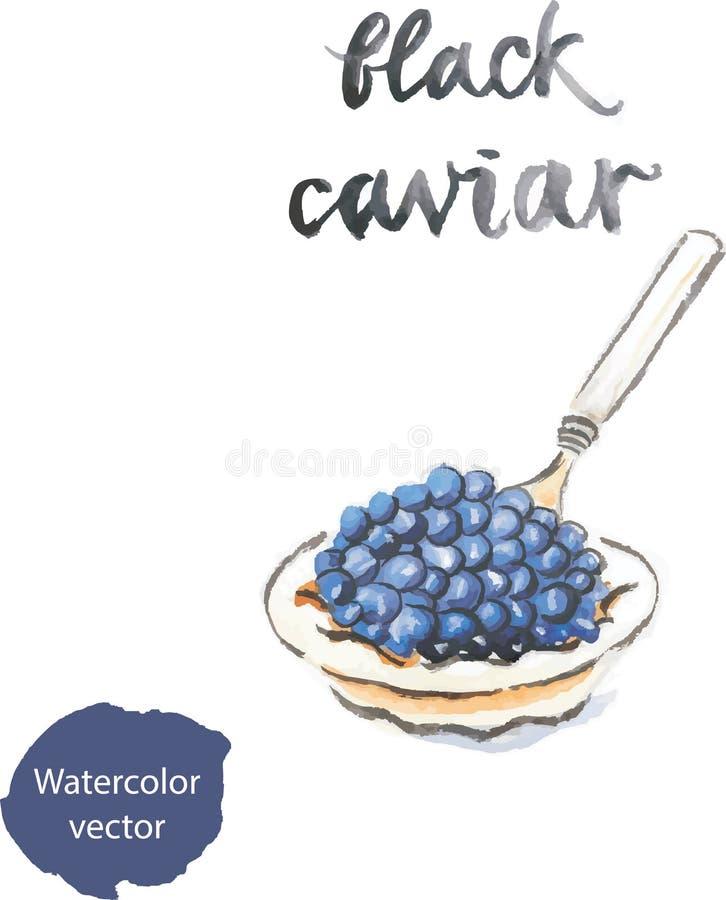 Caviar negro de la acuarela stock de ilustración