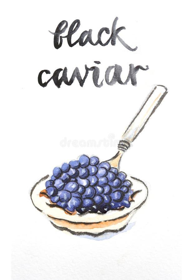 Caviar negro de la acuarela libre illustration
