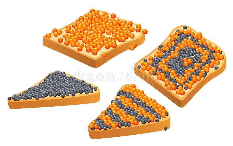 Caviar no pão ilustração royalty free