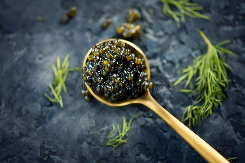 Caviar preto em uma colher no fundo escuro Close up natural do caviar do preto do esturj?o delicatessen Vista superior fotos de stock royalty free