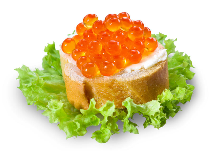 Caviar rojo con pan en blanco fotografía de archivo libre de regalías