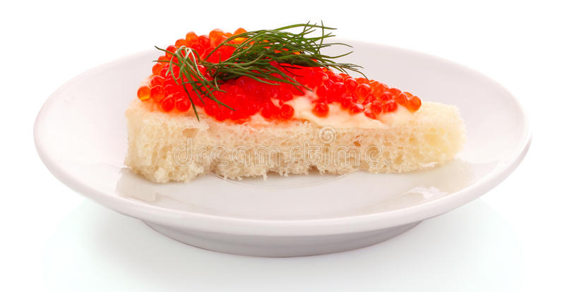 Caviar rojo y pan aislados fotografía de archivo