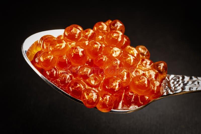 Caviar rouge dans la cuillère sur le fond noir, macro photo images stock