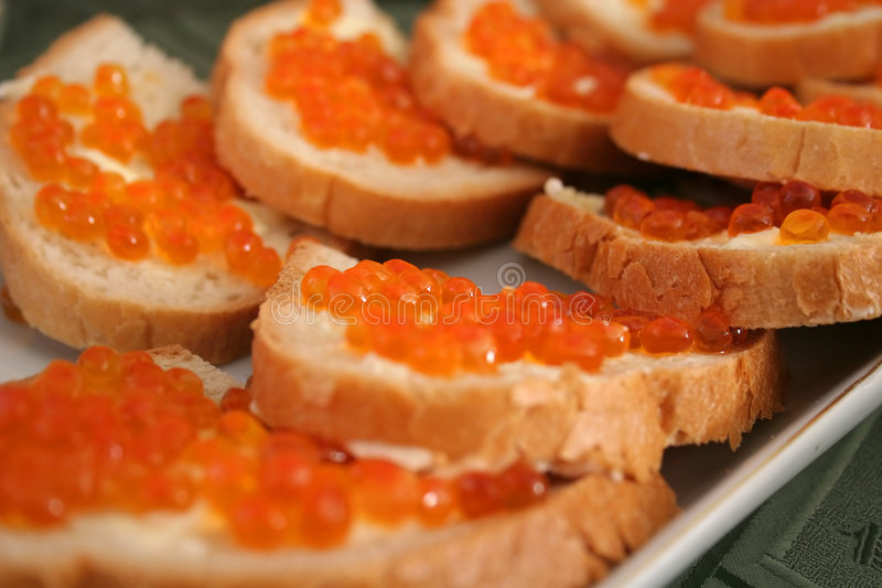 Caviar Sandwiches. A platter with caviar sandwiches royalty free stock photos