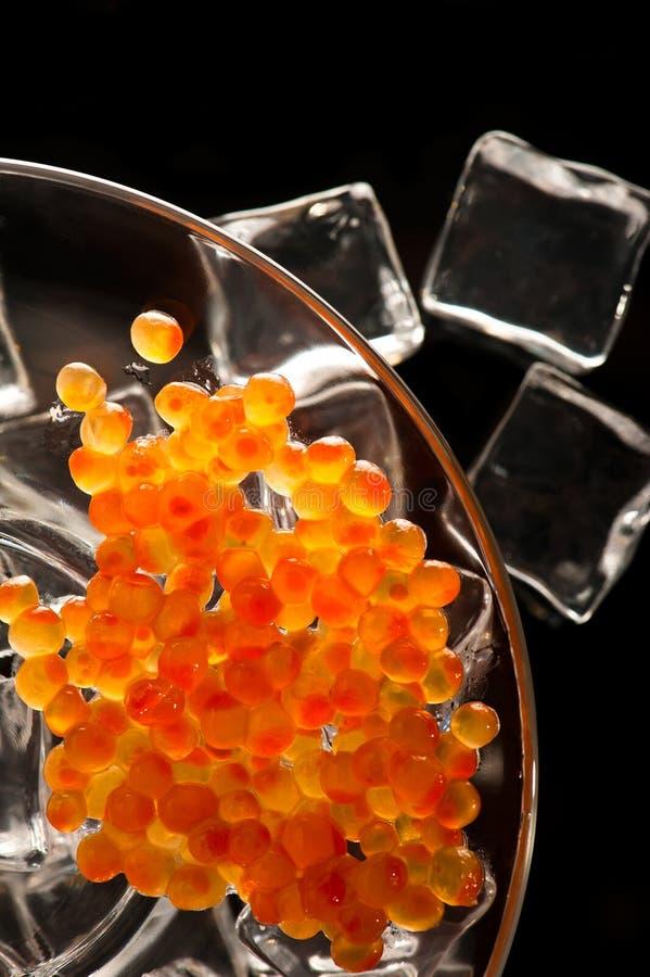 Caviar, servido en el hielo fotos de archivo
