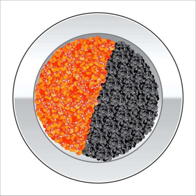 Caviar vermelho e preto ilustração stock