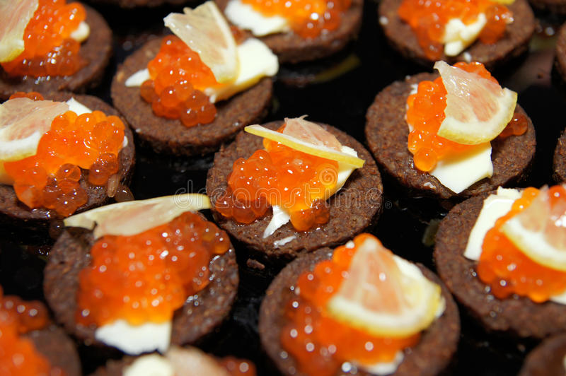 Caviare. Banquet appetizing food, celebration party food styling stock images