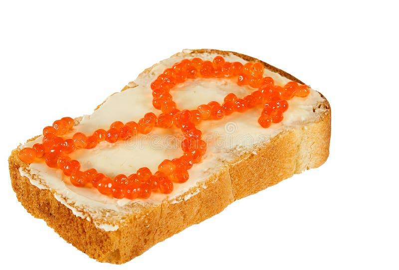Caviare2 κόκκινο σάντουιτς Στοκ Εικόνες
