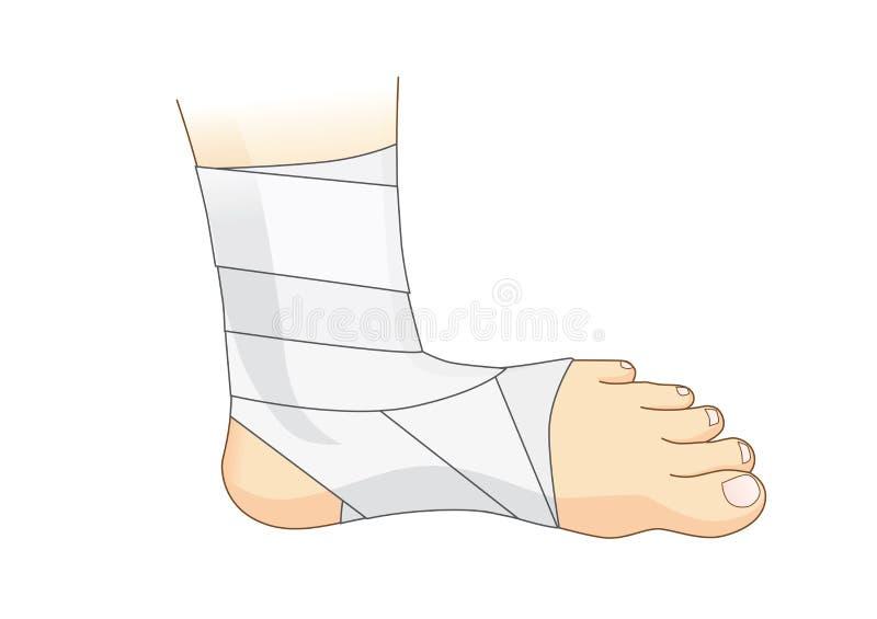 Caviglia e piede con la fasciatura elastica bianca royalty illustrazione gratis