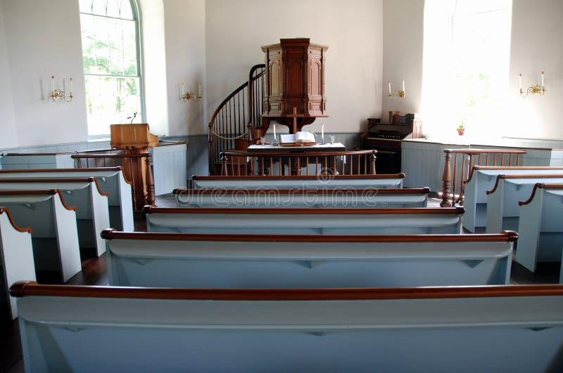 Cavité somnolente, NY : Vieil intérieur hollandais de l'église 1685 photo stock