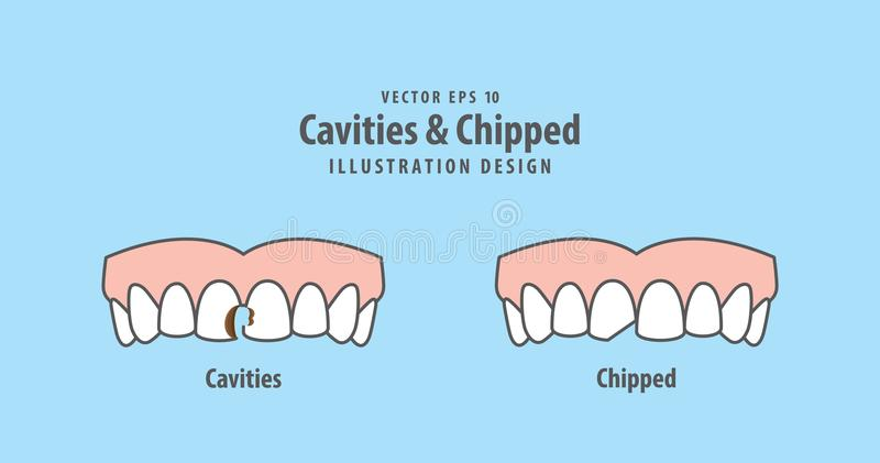 Cavities & Chipped illustration vector on blue background. Dental concept vector illustration