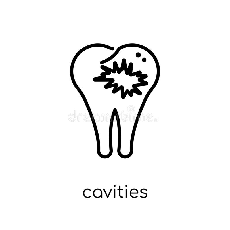 Cavities icon. Trendy modern flat linear vector Cavities icon on. White background from thin line Dentist collection, editable outline stroke vector vector illustration