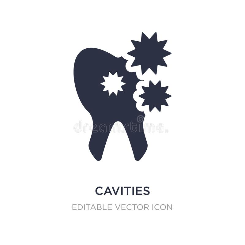 Cavities icon on white background. Simple element illustration from Dentist concept. Cavities icon symbol design royalty free illustration