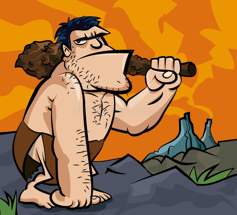 Cavman With Big Club In Prehistoric Royalty Free Stock Images