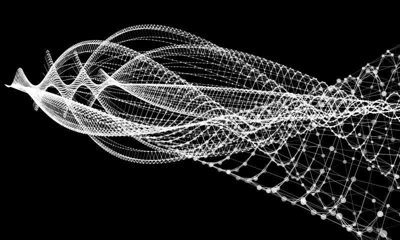 Cavo astratto con i punti e le linee comunicazione del fondo Illustrazione futuristica scientifica di vettore illustrazione di stock