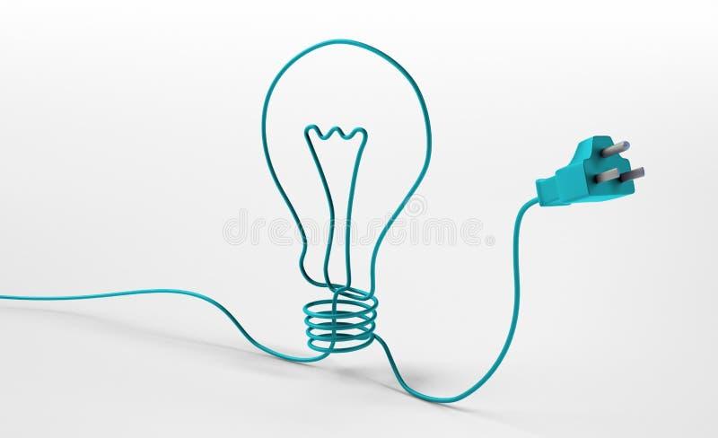 Cavo che forma un simbolo della lampadina illustrazione vettoriale