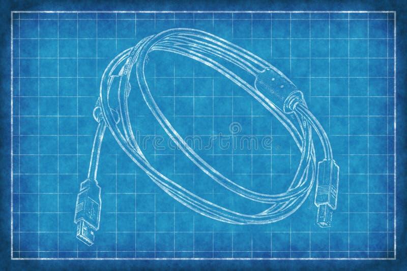 Cavo con i connettori - stampa blu royalty illustrazione gratis