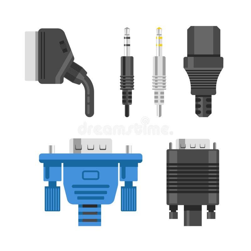 Cavo del collegamento ed adattatori video o audio del connettore e tappare vettore isolato illustrazione vettoriale