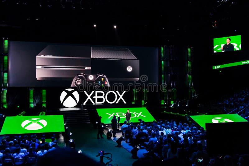 Cavo del gruppo di Phil Spencer Xbox all'informazione di media e3 fotografia stock