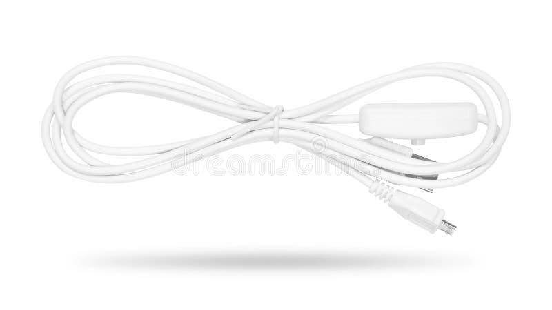 Cavo del USB isolato su priorit? bassa bianca Riga di energia elettrica immagini stock libere da diritti