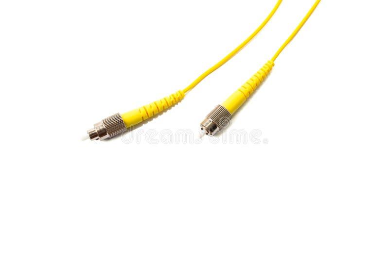 Cavo di toppa a fibra ottica su fondo bianco immagini stock