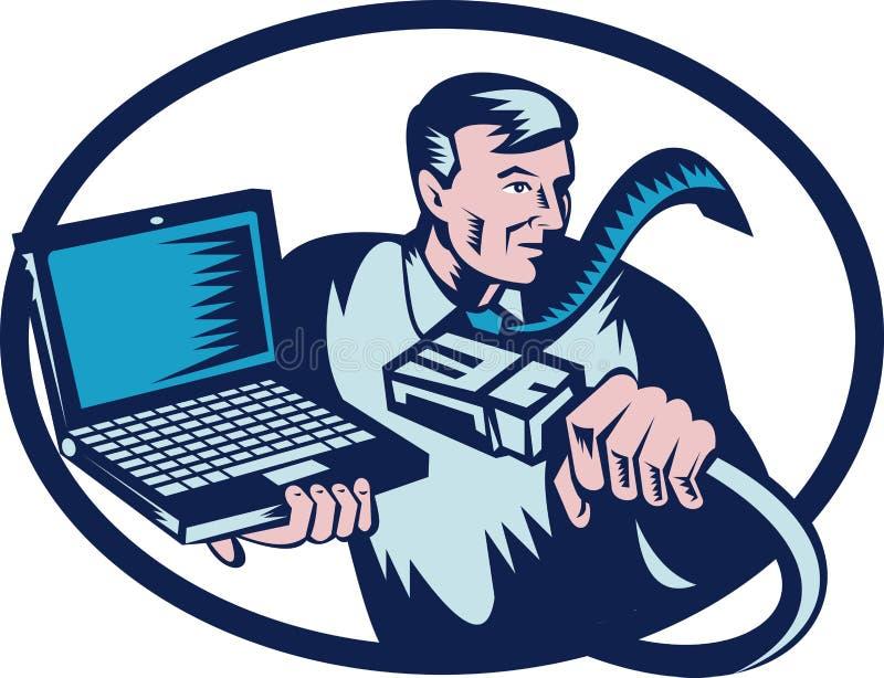 Cavo e computer portatile di tirante del calcolatore royalty illustrazione gratis