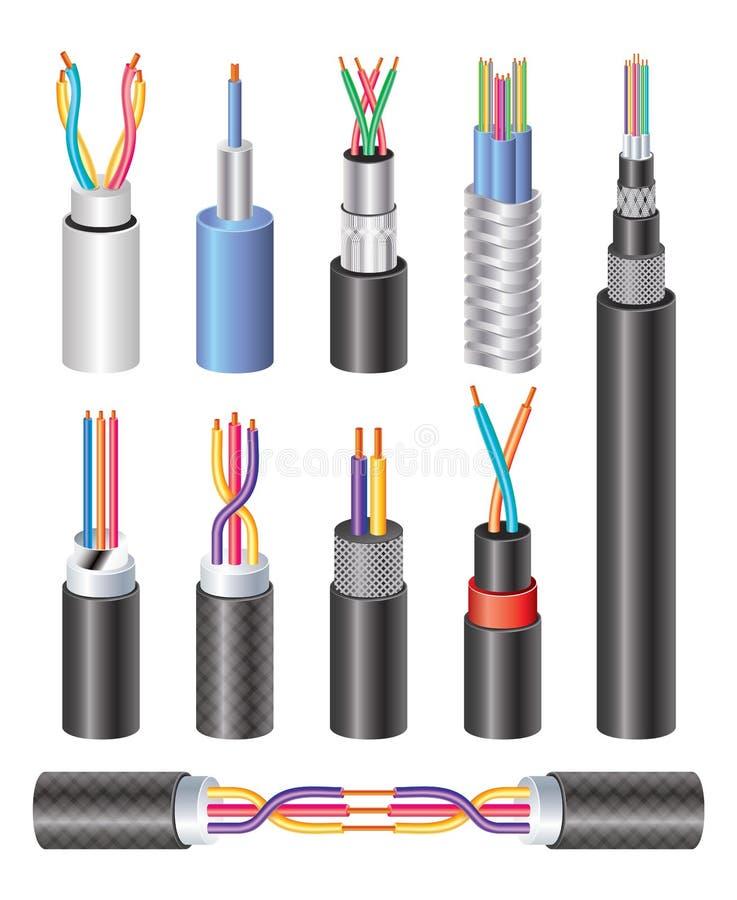 Cavo a fibre ottiche e rame industriali elettrici realistici stabiliti W royalty illustrazione gratis