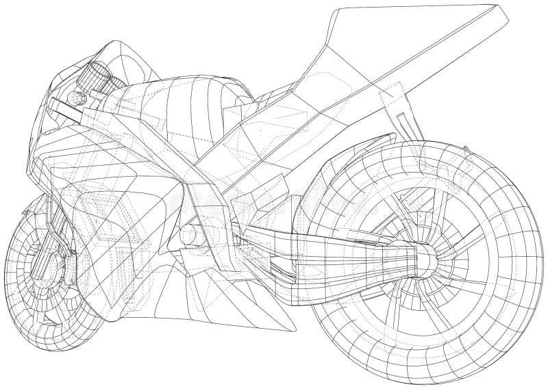 Cavo-struttura tecnica del motociclo di sport Formato EPS10 Vettore creato di 3d royalty illustrazione gratis