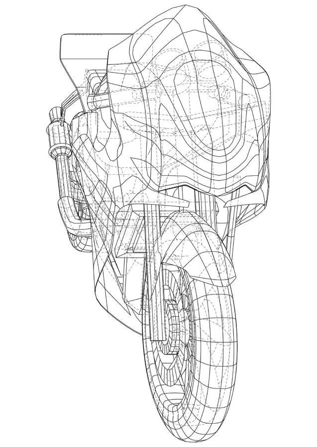 Cavo-struttura tecnica della motocicletta di sport Rappresentazione di vettore di 3d illustrazione vettoriale